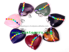 wholesale Natural Seven Chakra Reiki Set Heart Pendant Handmade Chakra Sets Wholesaler Manufacturer