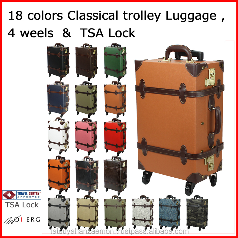 vintage luggage with wheels from japanese design wholesale trolley suitecase TSAcarry bag