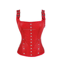 Waist Training Corsets and Bustiers Top Women Slimming Sexy Leather Corset Overbust Zipper Corset with Adjustable Strap