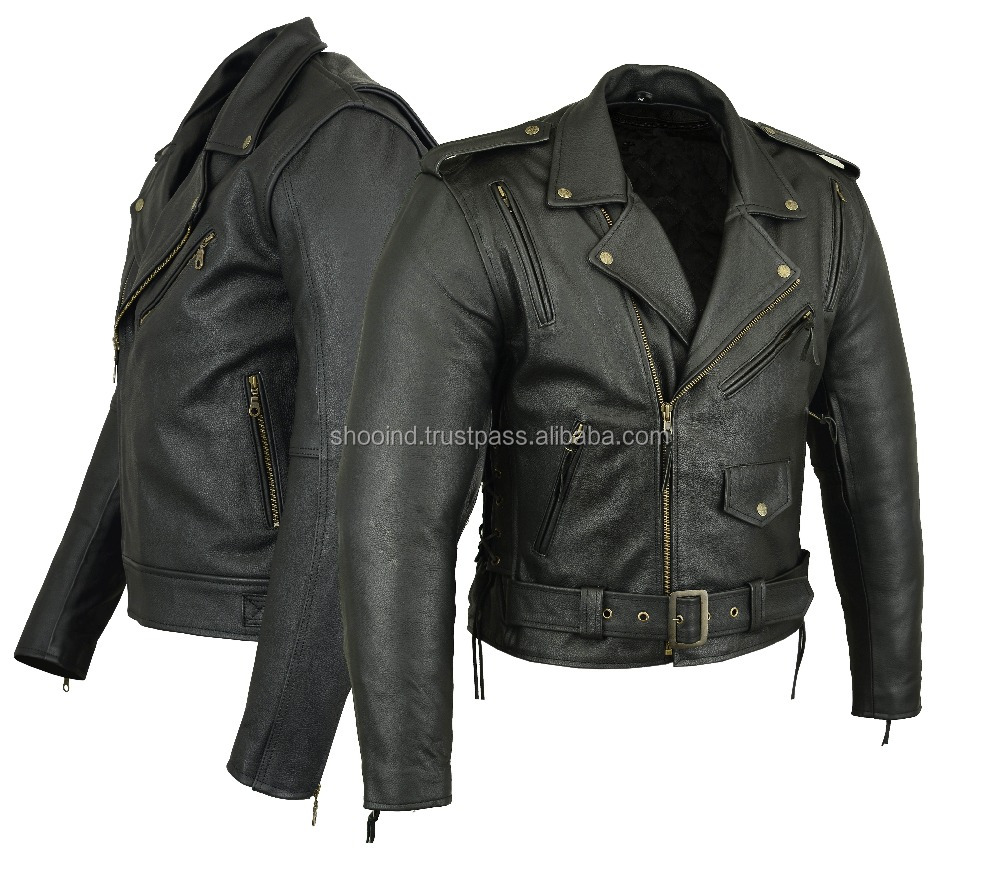 2017 New leather jacket Mens Vintage Black Leather Motorcycle Cafe Racer Jackets