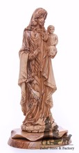 Virgin Mary with Baby Jesus Olive Wood Statue Hand Carved Zuluf- ART026