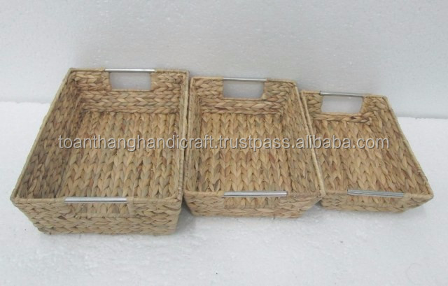 Manufacturer water hyacinth rectangular storage baskets