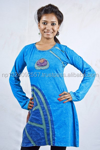 Tunics/Nepal/Skirts/Dresses/Girls/Kurta/Tops / Blue/100% Cotton