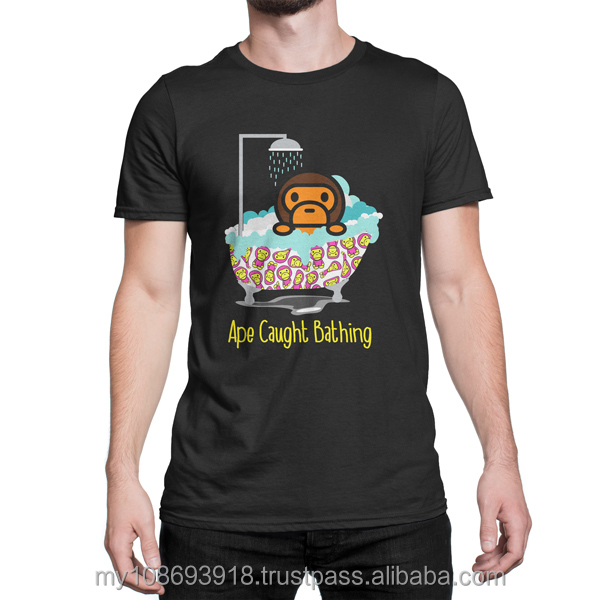 Ape Caught Bathing Custom Design Graphic Cotton Men's T-Shirt DTG Printing