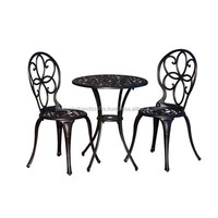 Garden Set, Antique Bronze Cast Aluminium 3 Piece Bistro Set, Outdoor Furniture