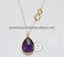 Designer Amethyst Gemstone Silver Gold Plated Necklace For Women