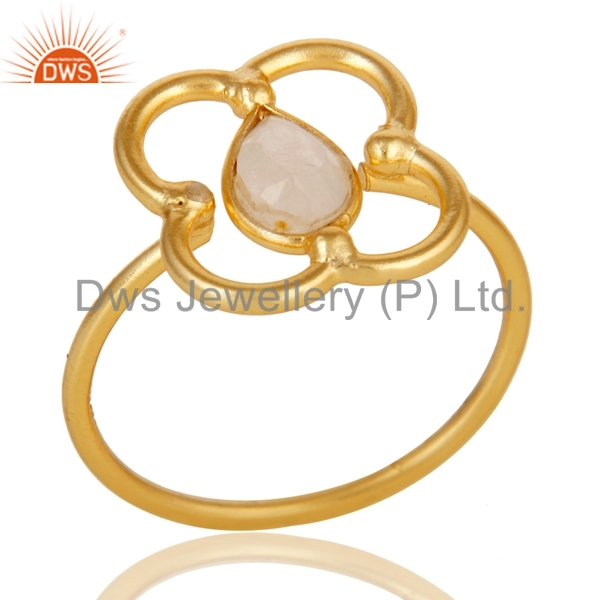 Gold Plated 925 Silver Handcrafted Ring Rainbow Moonstone Designer Girls Rings Manufacturer of Gemstone Jewelry