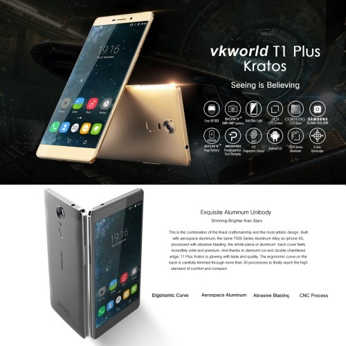 VKworld T1 Plus Kratos 16GB, Network: 4G,Fingerprint Identification, 2.5D 6.0 inch Android 6.0 MTK6735 Quad Core 1.0GHz, RAM: 2G
