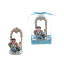 Baby Angel Praying Under Arch Poly Resin - Blue