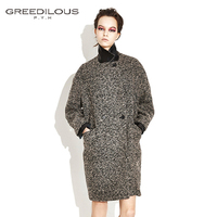 [GREEDILOUS] Leather cuffs over sized coat(brown) boxy sillouette_double button_notched collar coat