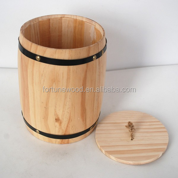 Natural color wood barrel with logo