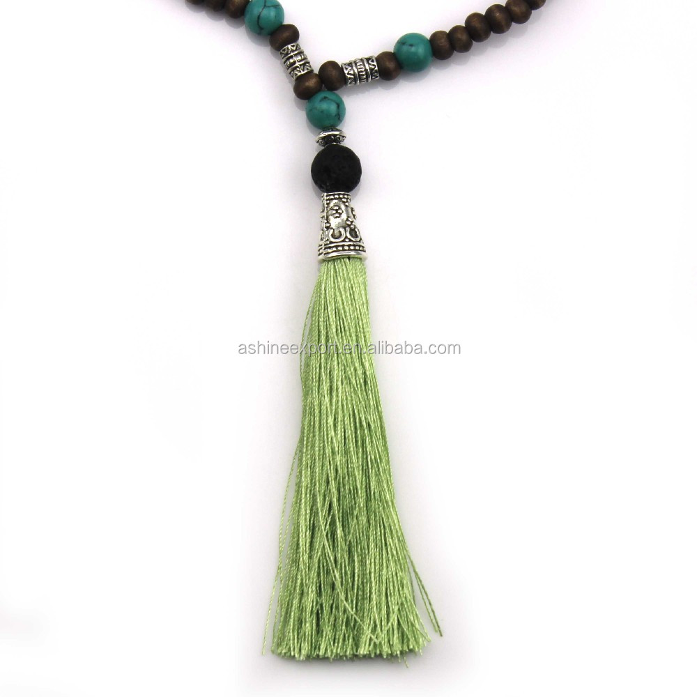 Original Natural Turquoise Wood Beads Elastic String Volcanic Rock Long Tassel Necklace