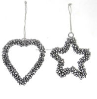 silver plated heart and star hanging for decor