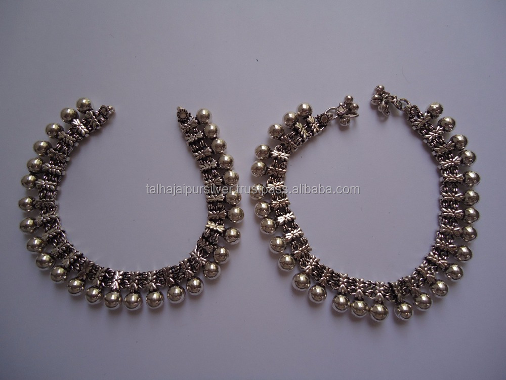 Indian Fashion Jewelry 925 Silver Anklets