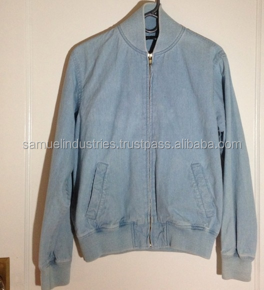 VINTAGE blue denim bomber jacket for men\light blue denim jacket\Men's Lightweight Stretch Cotton Bomber Jackets