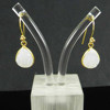Natural white druzy gemstone 925 sterling silver gold plated designer dangle earring