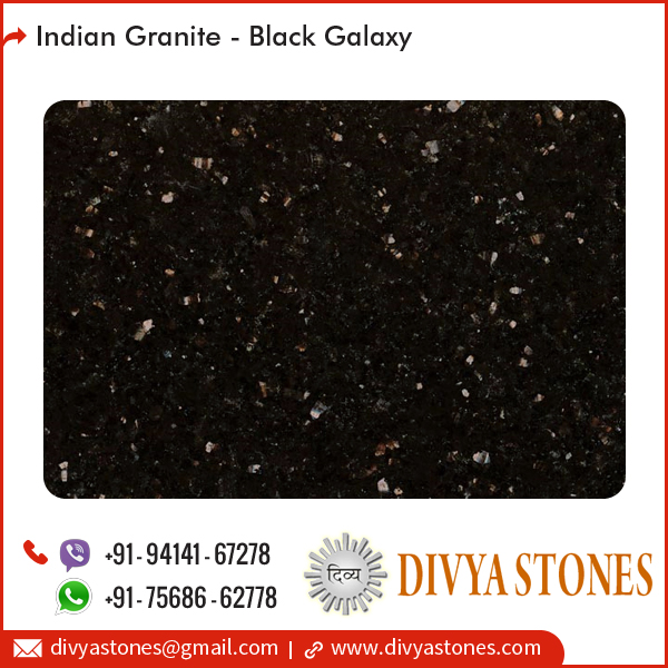 High Gloss Polish, Smooth Polished Black Galaxy Granite