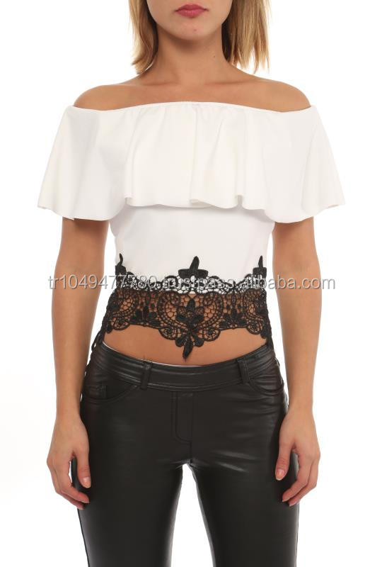 boat neck off shoulder women blouses with lace part