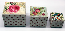 Custom Image Top Printed Cotton Fabric Gift Box - Nested set of 3