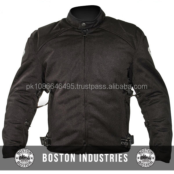 Men's Black Mesh Motorcycle Jacket Padded with Level-3 Advanced Armor Windproof Insulated Cordura Textile Motorcycle Jackets