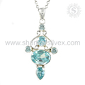 Remarkable Blue Topaz Pendant 925 Sterling Silver Silver Jewelry Gemstone Jewelry Manufacture