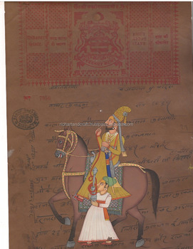 Vintage India Painting Handmade Rajput King Miniature Portrait Artwork old Court Fee Stamp Artist Hindu UK