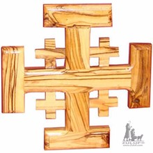 Zuluf Crusader Christian Jerusalem Religious Hand Carved Olive Wood Cross - CRS016