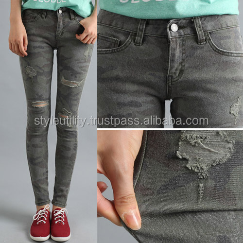 2jsm0203 3% spandex Camouflage cotton jeans Made in korea