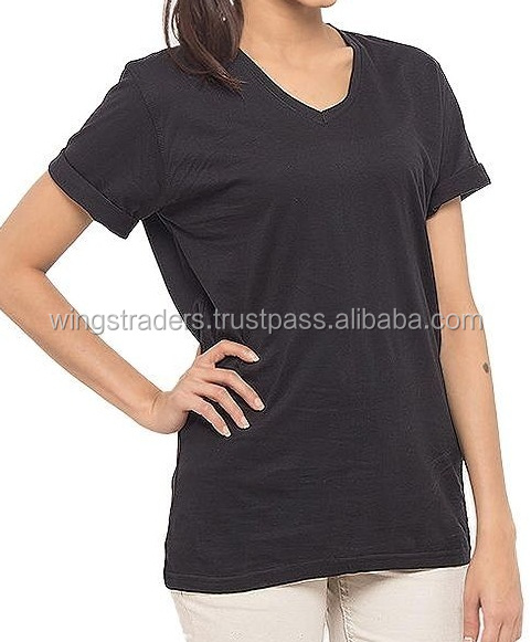 Black Cotton T-Shirt V Neck Short Sleeves Available Different Colors And Sizes