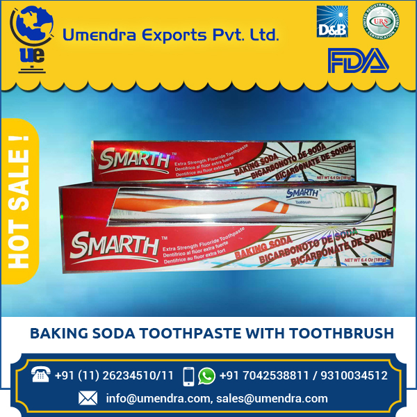 Toothpaste Baking Soda 6.4 Oz with Toothbrush with Plaque removing agent Sodium Biocarbonate (181 g)