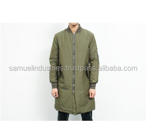Over sized long olive green bomber jackets men street wear extended military flight jacket