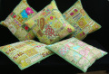 "EMBROIDERED Gift India COLORFUL Decor THROW Art 16"" Green TOSS PILLOW CUSHION COVER"