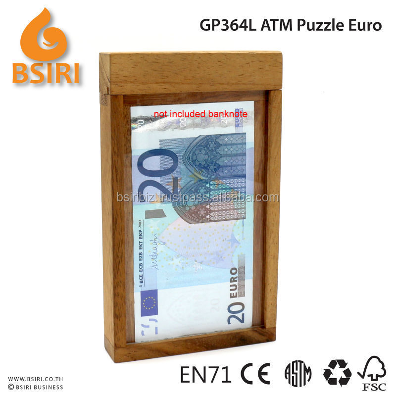 Wooden Euro Banknote ATM Puzzle Brain teaser toy games tricky money