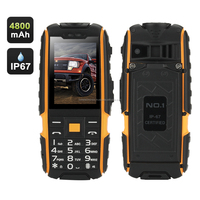 GSM Phone, 4800mAh Battery, 2.4 Inch, Dual SIM, IP67 Waterproof Rating, FM Radio, Flashlight (Yellow)
