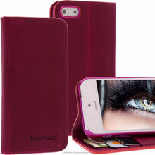Geniune Leather Lucca Bookstyle case for iPhone 5S / 5 Antic Fuchsia Cow Leather