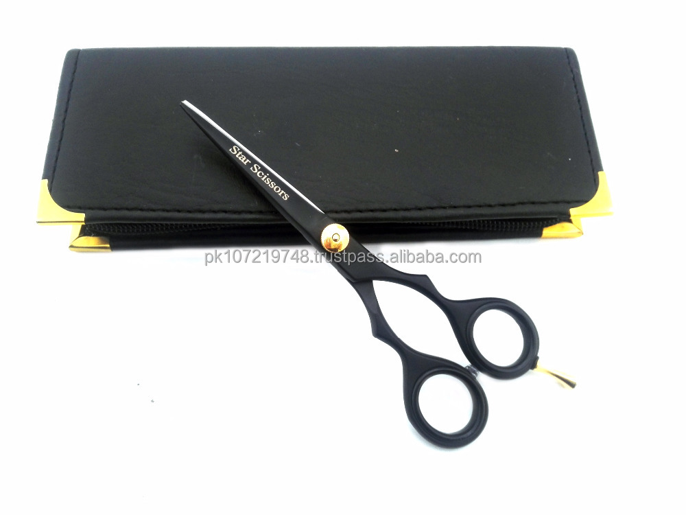 "Professional Hairdressing Hair grooming Scissors Cutting Shears 5.5"" Japanese Steel Black Packed in USA"