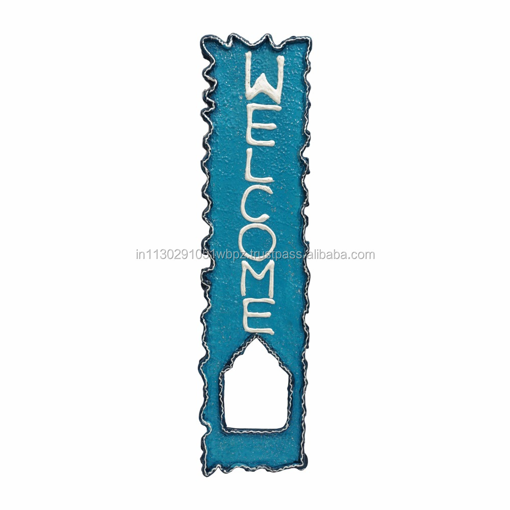 Handmade wooden crafted customized name plate rajasthani arts blue door hanging Indian handicrafts papier mache