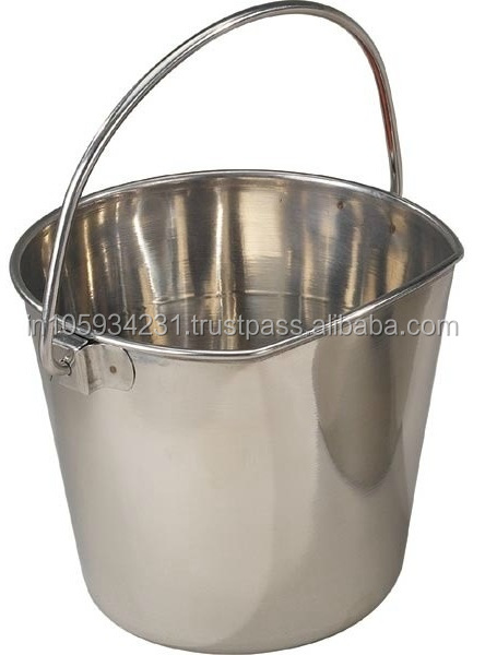 Stainless Steel Flat sided Animals feed pails