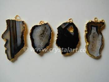 Black Banded Onyx Natural Design Electroplated Slices Pendants