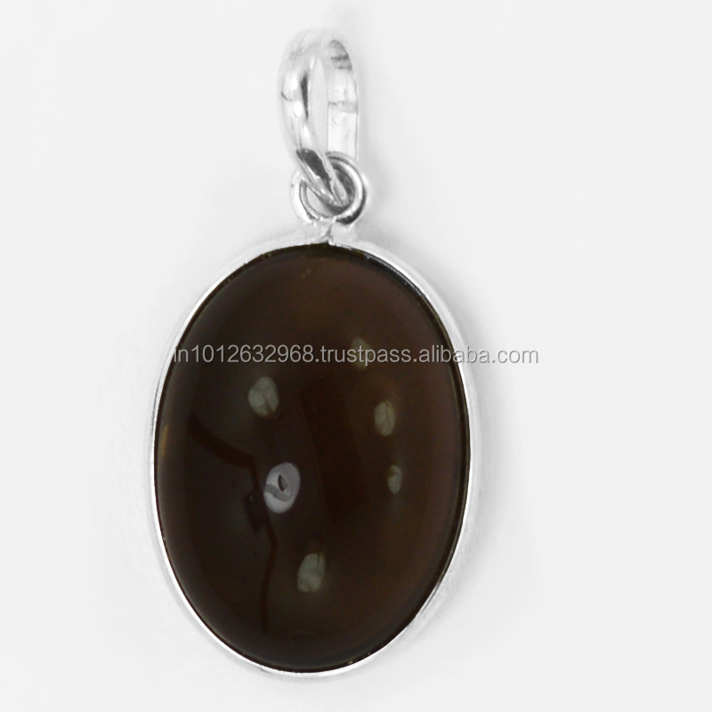 5.8 Gm Smoky Quartz Gemstone 925 Sterling Silver Pendant,Sterling Silver Pendant Locket,handcrafted sterling silver pendant