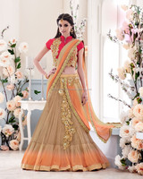 TWO-TIERED CHIKU COLORED ONE MINUTE SAREE