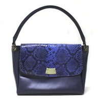 Blue Snake Foiled Leather Baguette Bag