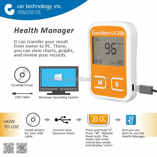 3 in 1 Blood Glucose Cholesterol Hemoglobin Monitor with PC link