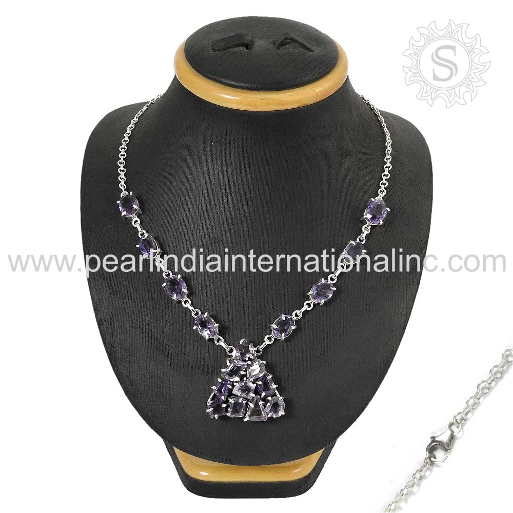 Stunning amethyst silver 925 sterling necklace natural gemstone jewelry supplier
