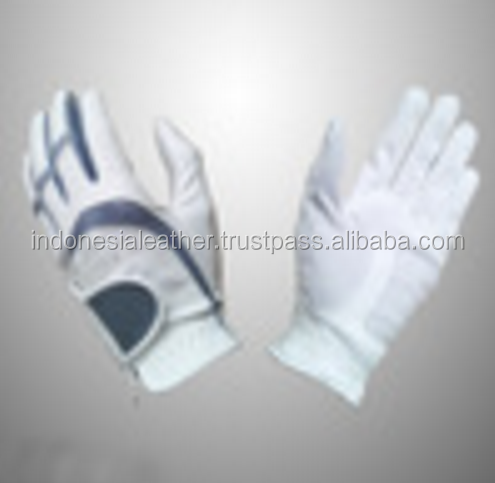 Golf glove with PU leather and additional leather on the half thumb and patch specially for ladies