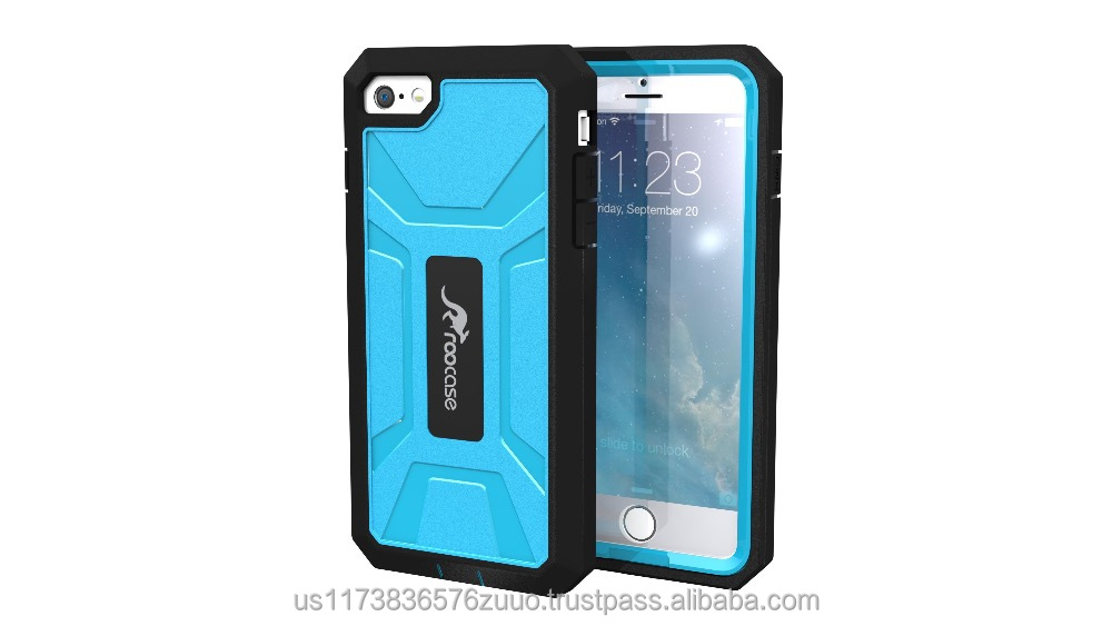 Tough Case Full Body Protective Cover Hybrid PC / TPU Heavy Duty Dual Layer Case for iPhone 6 6s Plus 5.5 inch roocase (blue)