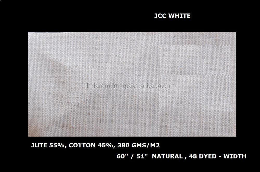 Check jute fabric blue and cream