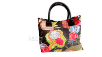 Jaipuri Kantha Handmade Semi Leather Cotton Hand Bags For Women