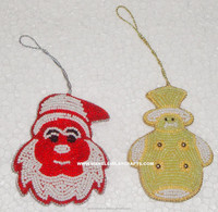 Santa Clause and Teddy Bear Christmas Ornaments