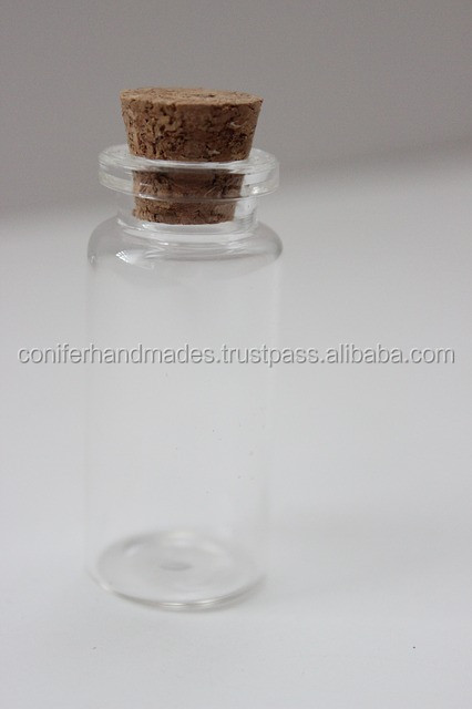 empty glass bottles with cork suitable for invitation designers and perfume manufacturers
